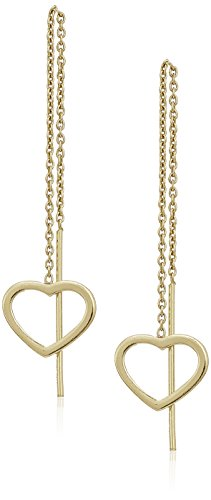 Sterling Silver Open Heart Threader Drop Earrings