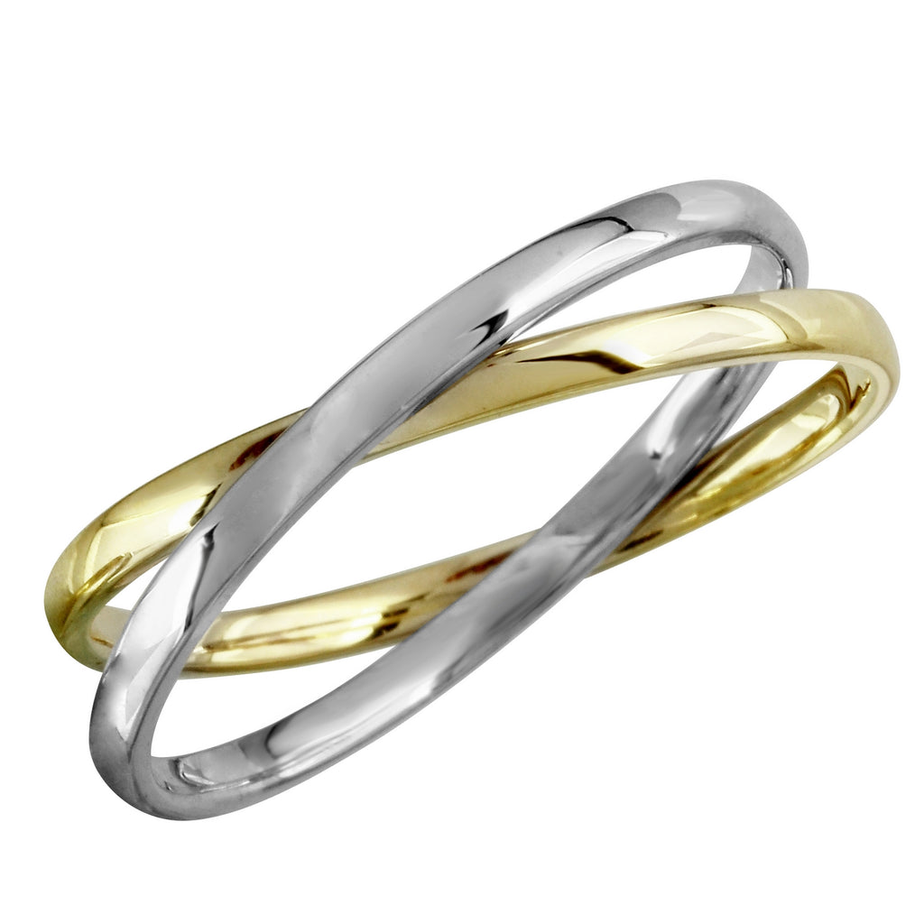 14k Two-Tone Gold Overlapping Double Bands Ring, Size 7