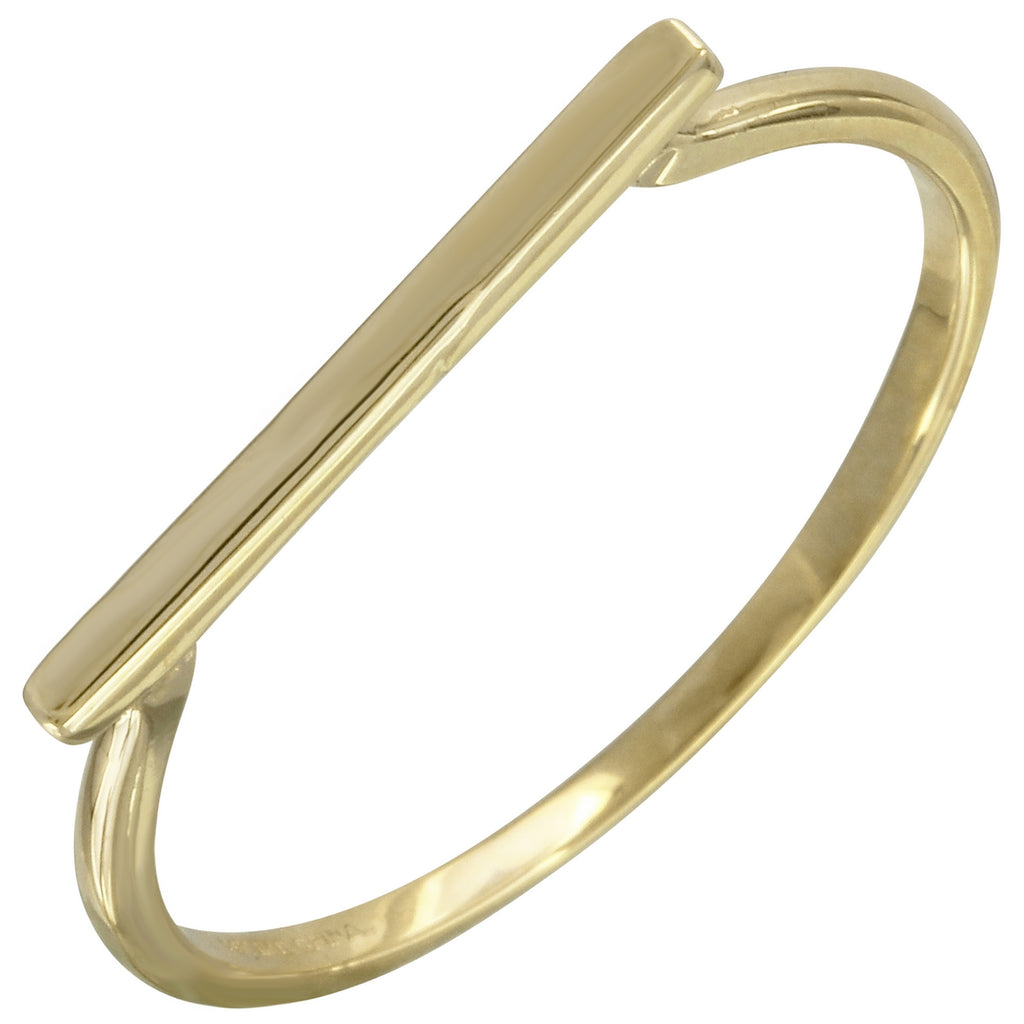 14k Yellow Gold Bar Ring, Size 7