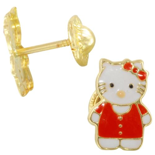 14k Yellow Gold Kitty Baby Stud Earrings