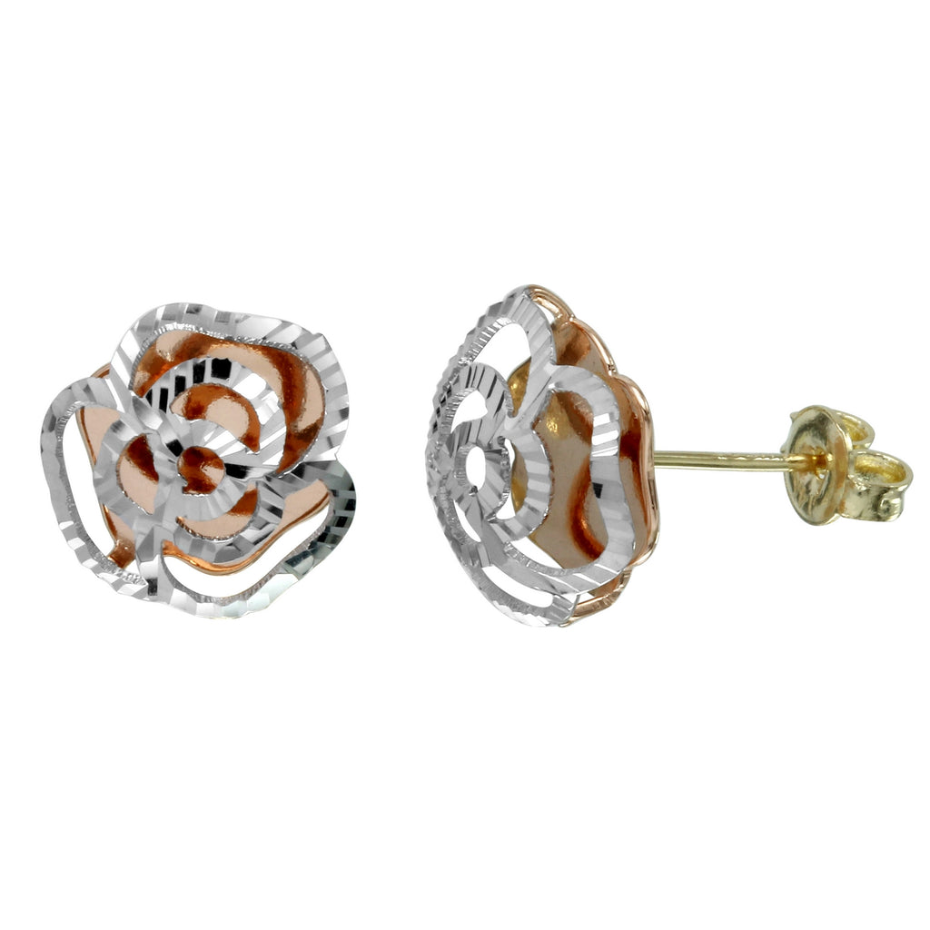 14k Tri-Color Gold Diamond-Cut Rose Stud Earrings - Bee Jewels