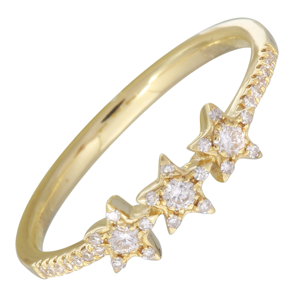 14k Yellow Gold Diamond Pave Celestial Star Trio Ring (1/5 cttw, I-J Color, I1-I2 Clarity)