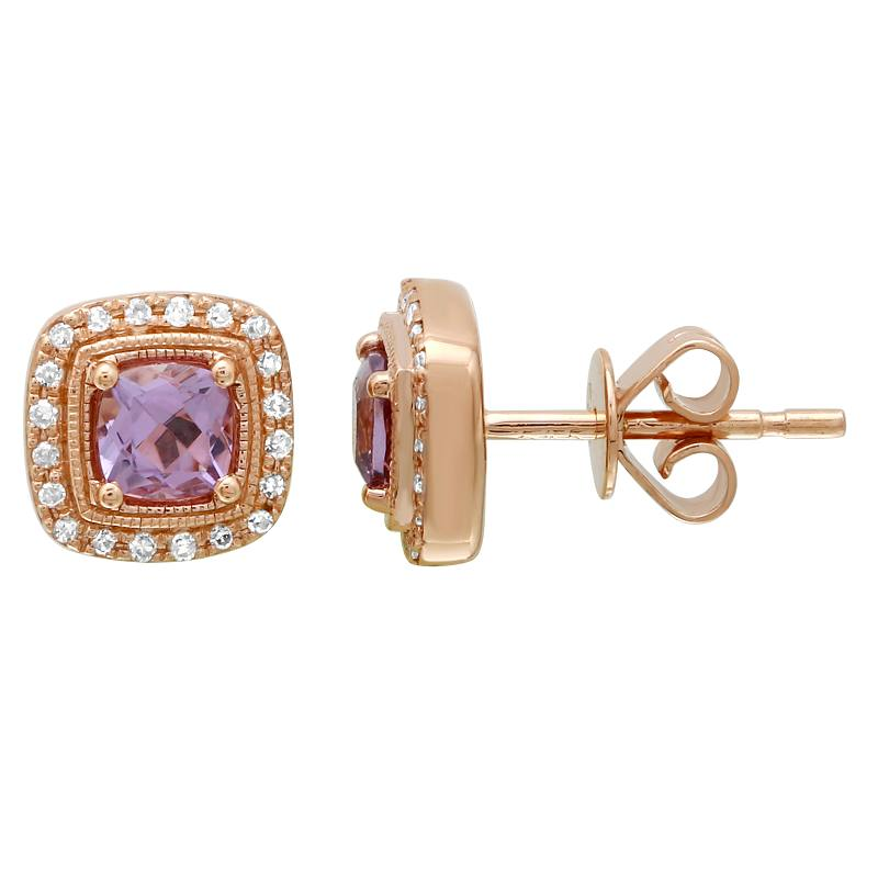 14k Rose Gold Diamond Purple Amethyst Cushion Stud Earrings (1/10 cttw, I-J Color, I2-I3 Clarity)