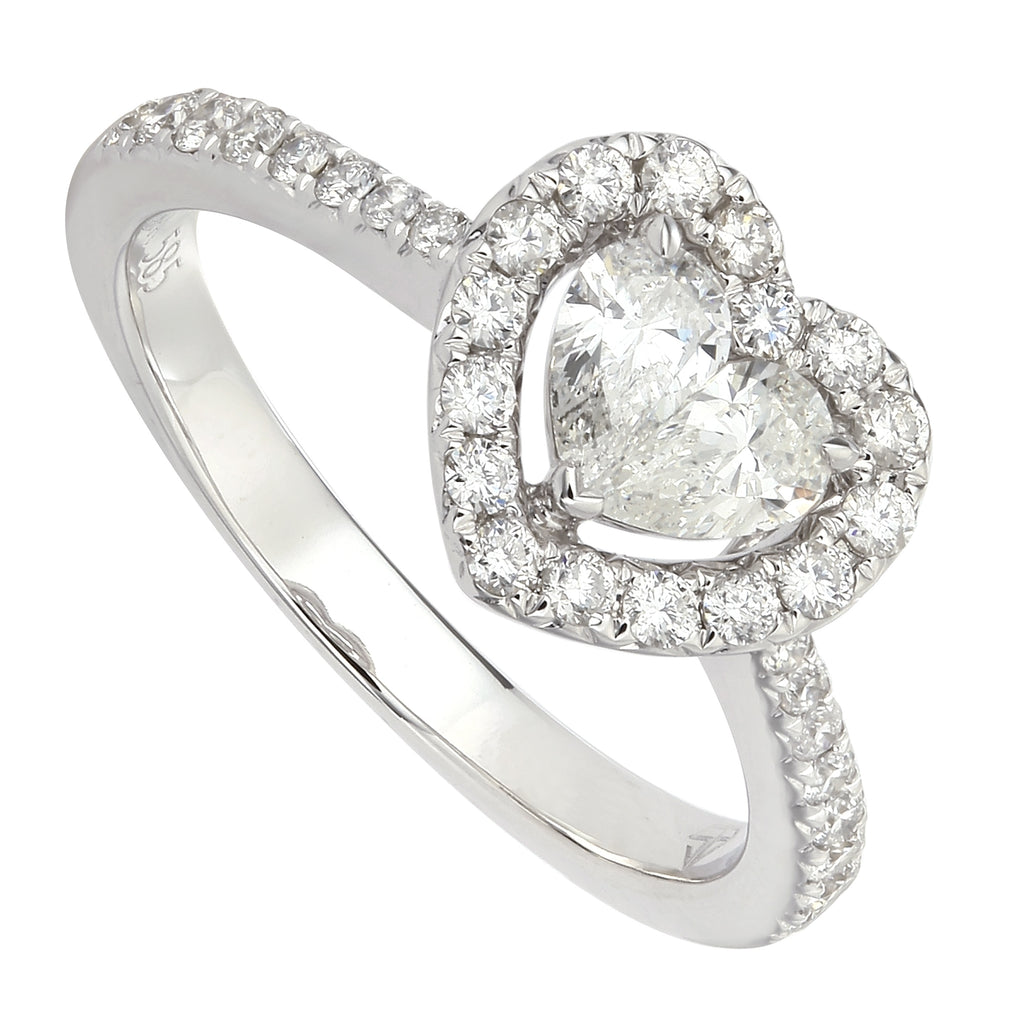 14k White Gold Diamond Heart Engagement Ring (3/4 carat)