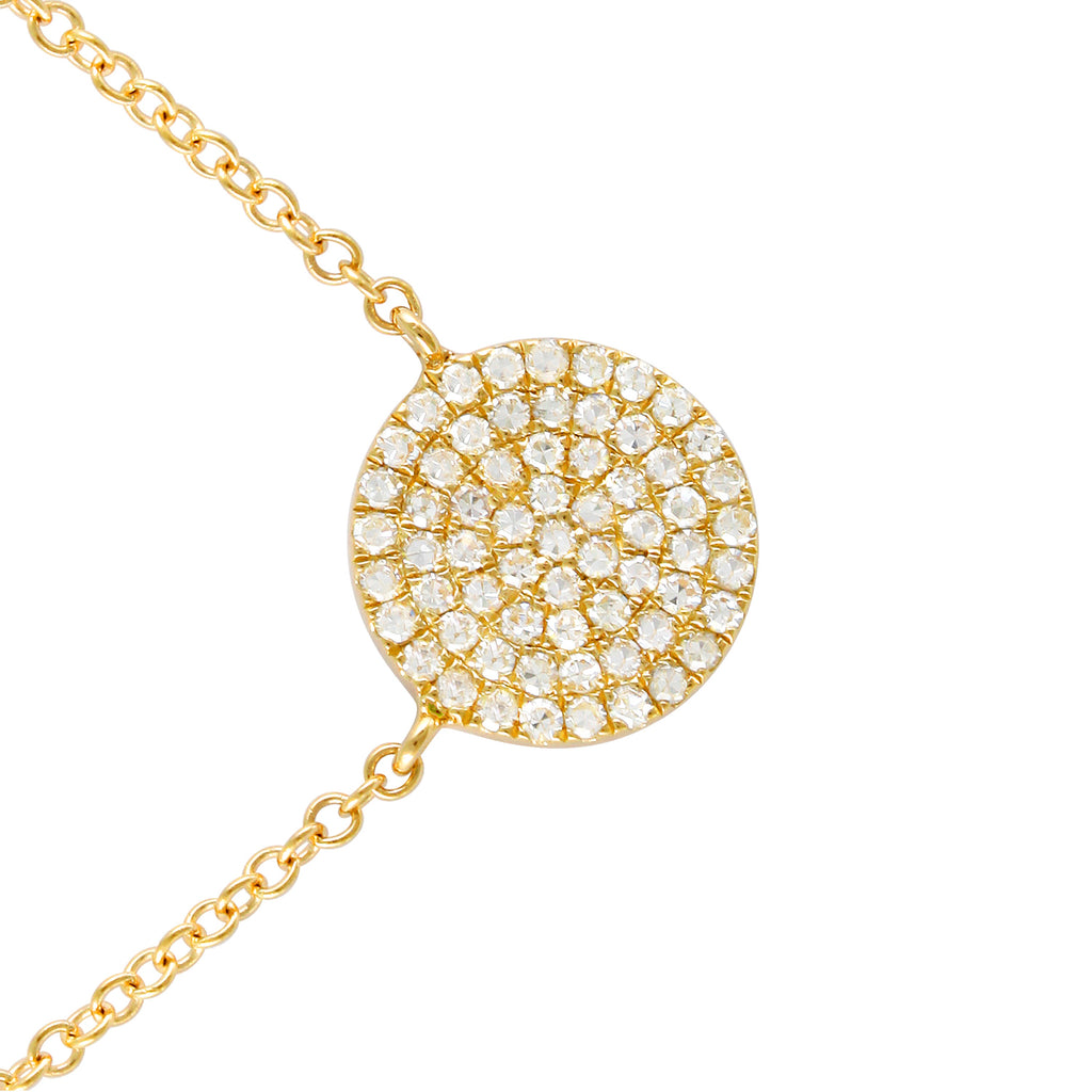 14k Yellow Gold Diamond Floating Circle Disc Pendant Necklace (1/5 cttw), 16+2""
