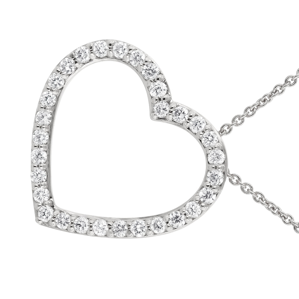 14k White Gold Diamond Tilted Heart Pendant Necklace (1/3 cttw), 16+2""