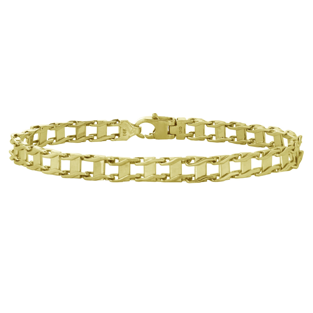 Men's 14k Yellow Gold 6.5mm Railroad Link Bracelet, 8.25""