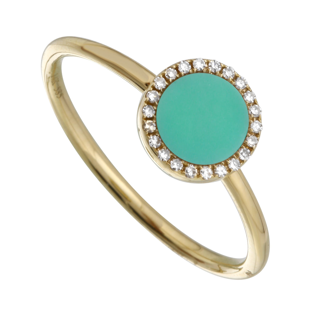 14k Yellow Gold Turquoise Solitaire Diamond Accent Ring (0.06 cttw, H-I Color, I1-I2 Clarity)