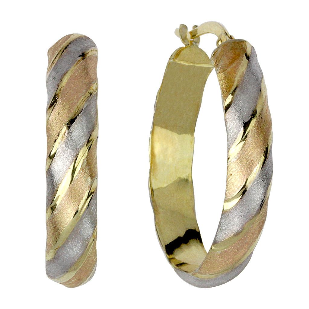 14k Gold-Bonded Sterling Silver Tri-Color Oval Hoop Earrings