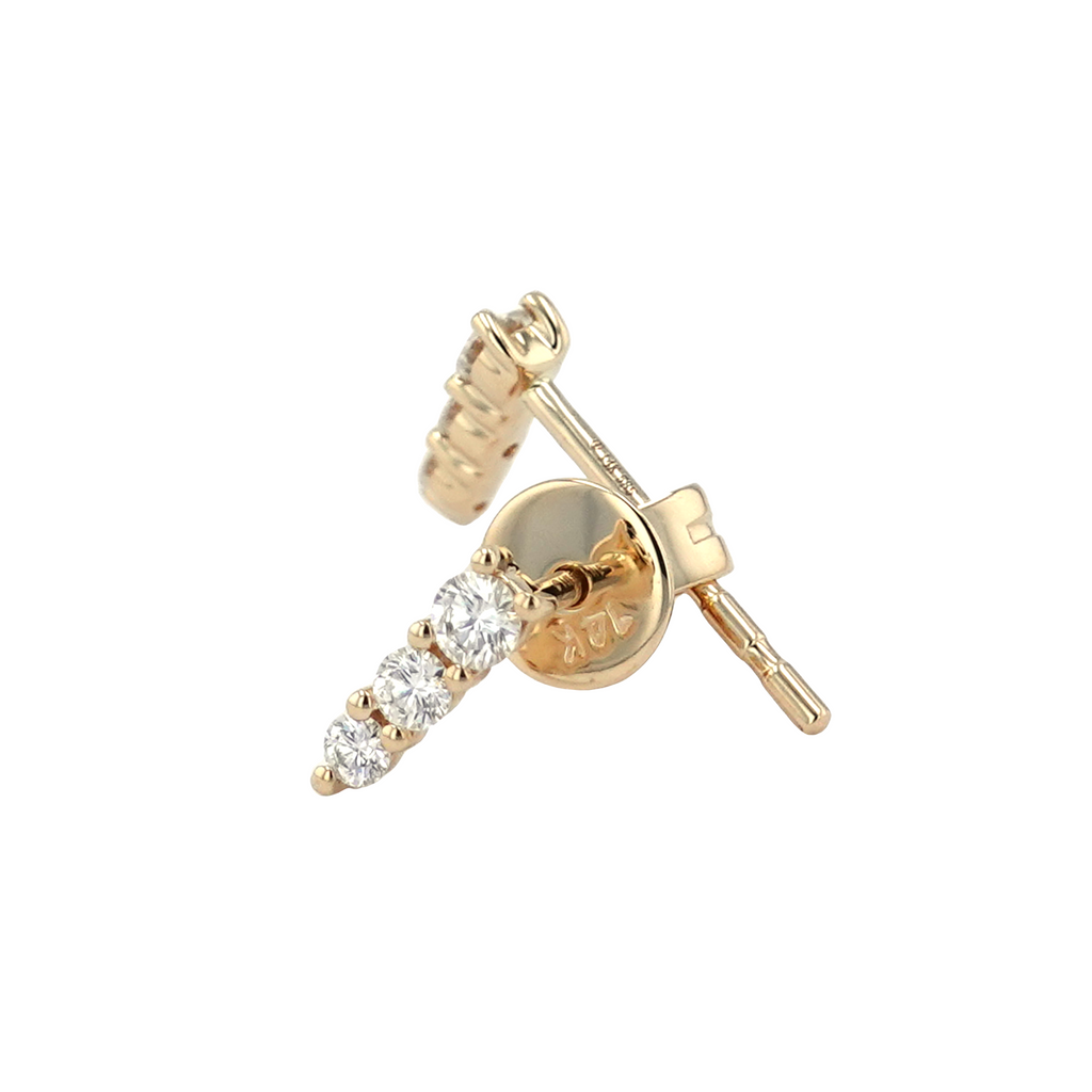 14k Yellow Gold Diamond Trio Pin Stud Earrings (1/5 cttw, J-K Color, SI2-I1 Clarity)