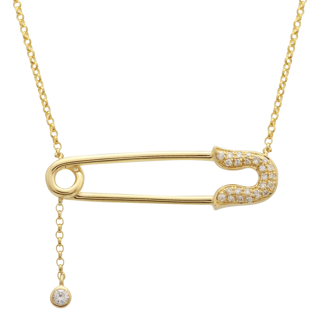 14k Yellow Gold Diamond Pave Safety Pin Lariat Pendant Necklace (0.07 cttw), 16+2""