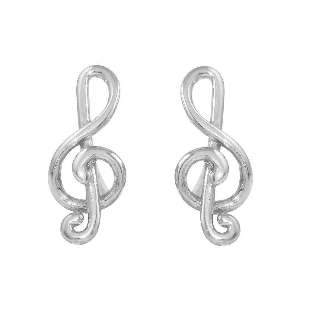 14k Gold Italian Treble Clef Stud Earrings - Bee Jewels
