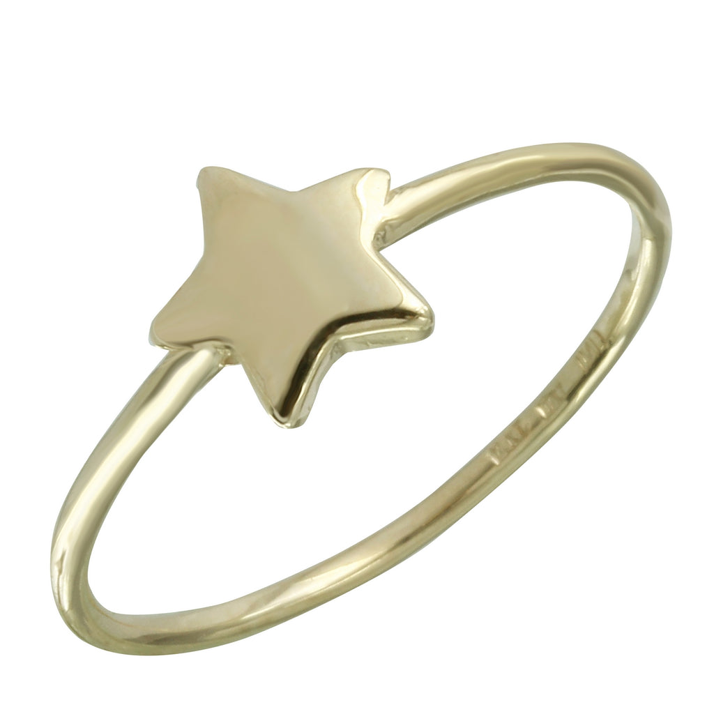 14k Italian Yellow Gold Star Ring, Size 7