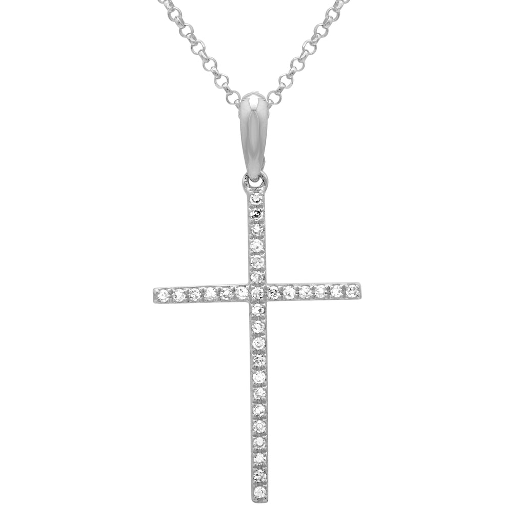 "14k White Gold Diamond Accent Cross Pendant Necklace (0.08 cttw, H-I Color, SI2-I1 Clarity), 16+2"" Extender"