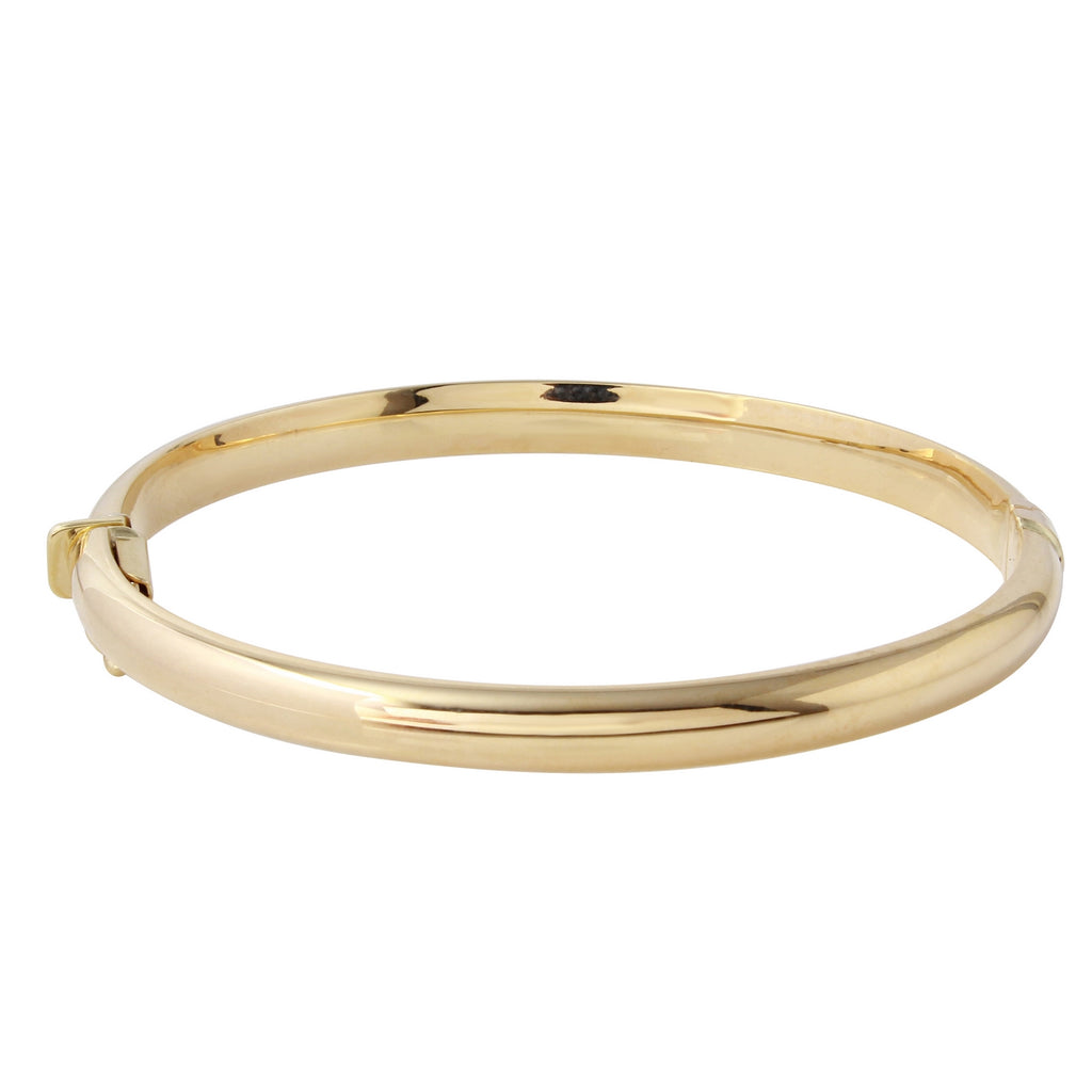 "10k Gold Polished Dome Bangle Bracelet, 2.5"" - Bee Jewels"