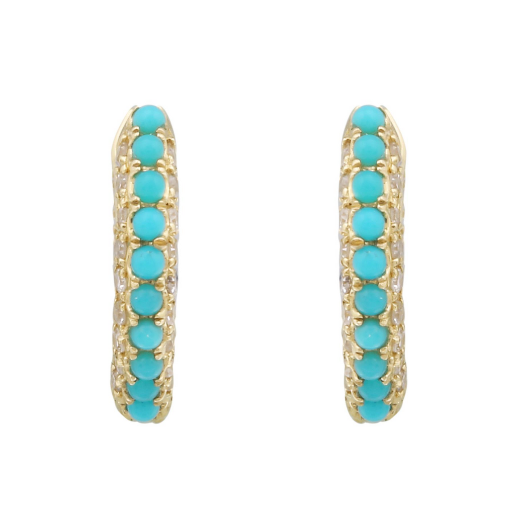 14k Yellow Gold Diamond Turquoise Beaded Hoop Earrings (1/4 cttw, I-J Color, I2-I3 Clarity) 11mm Diameter