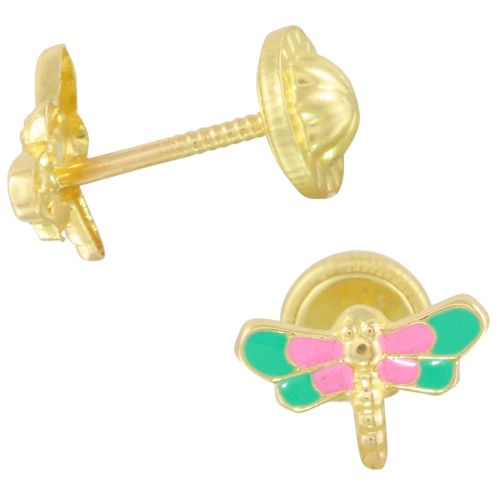 Dragonfly 14k Yellow Gold Pink and Green Enamel Baby Earrings