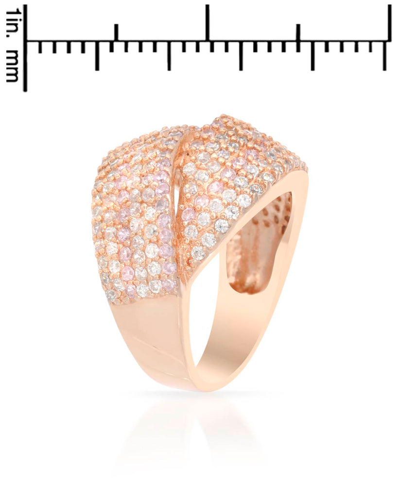 Overlapping Bands RING rose gold CZ Sterling Silver