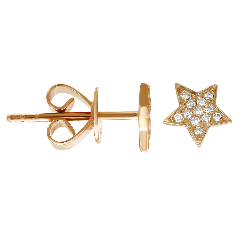 14k Yellow Gold Diamond Pave Floating Star Stud Earrings (1/20 cttw)