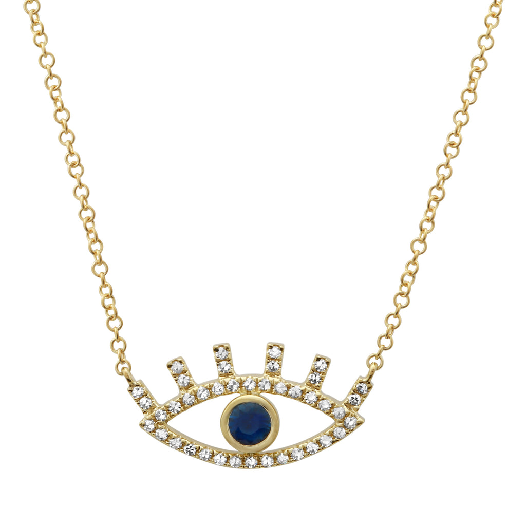 14k Yellow Gold Sapphire Diamond Accent Eye Pendant Necklace (1/8 cttw), 16+2""