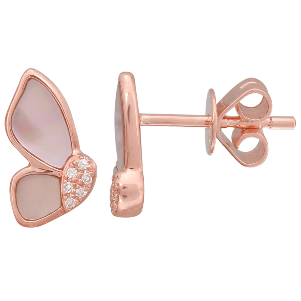 14k Rose Gold Diamond Mop Butterfly Stud Earrings (1/20 cttw, H-I Color, I2-I3 Clarity)