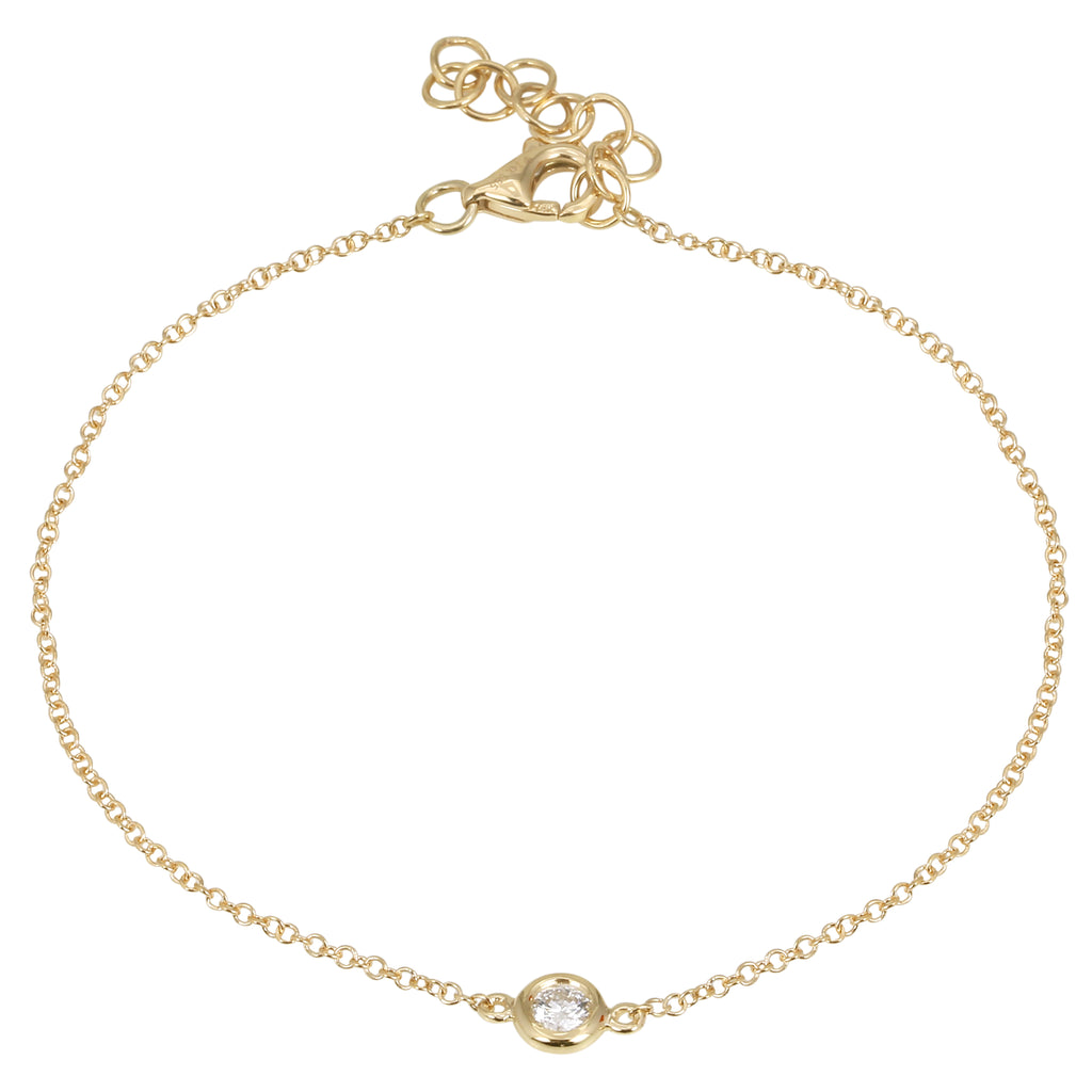 14k Yellow Gold Diamond Accent Charm Bracelet (1/10 cttw), 6+1""