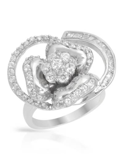 Cocktail Ring 925 CZ Crystal Flower