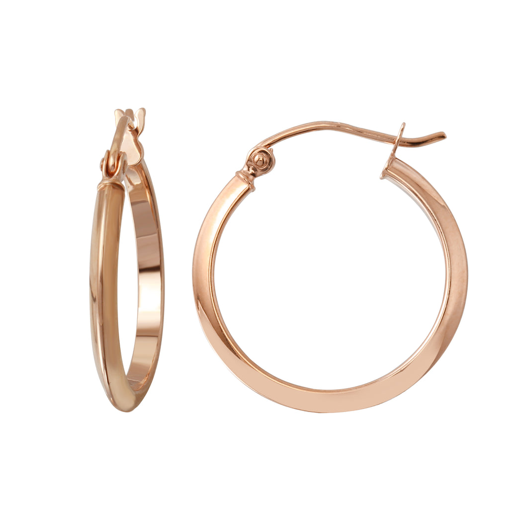 14k Rose Gold 1.8mm Hoop Earrings - Bee Jewels