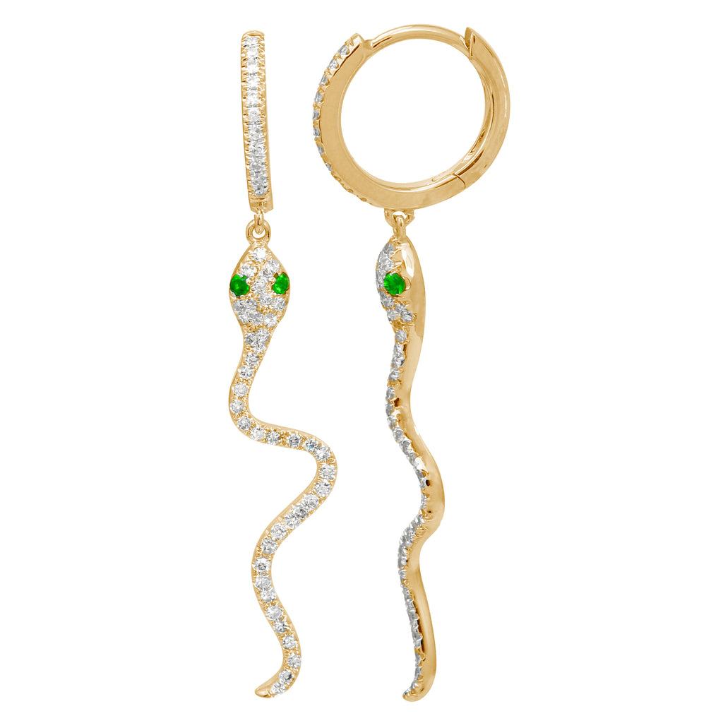14k Yellow Gold Diamond Tsavorite Dangle Snake Hoop Earrings (1/3 cttw), 8.5mm Diameter
