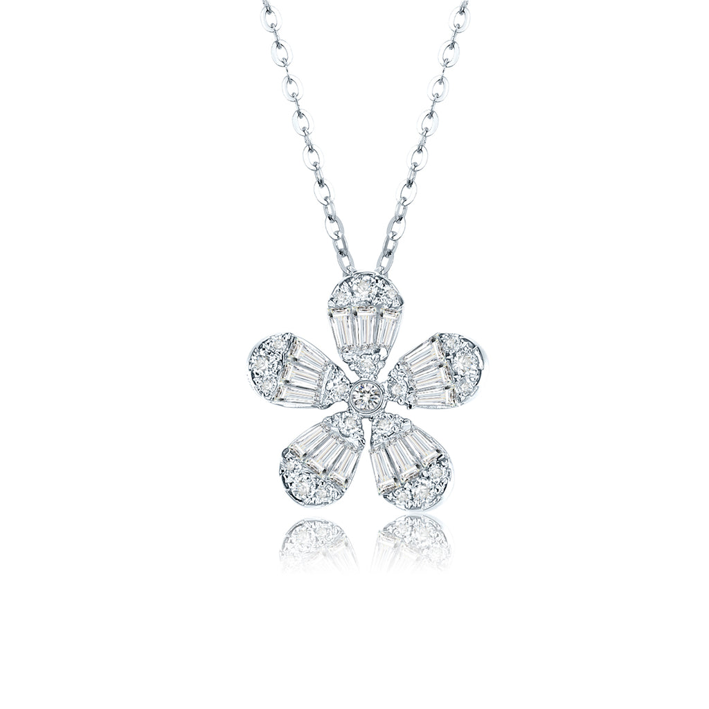 "REEMARK™ 18k White Gold Baguette Diamond Flower Pendant Necklace (5/8 cttw, I-J Color, I1-I2 Clarity), 15+2"" Extender"