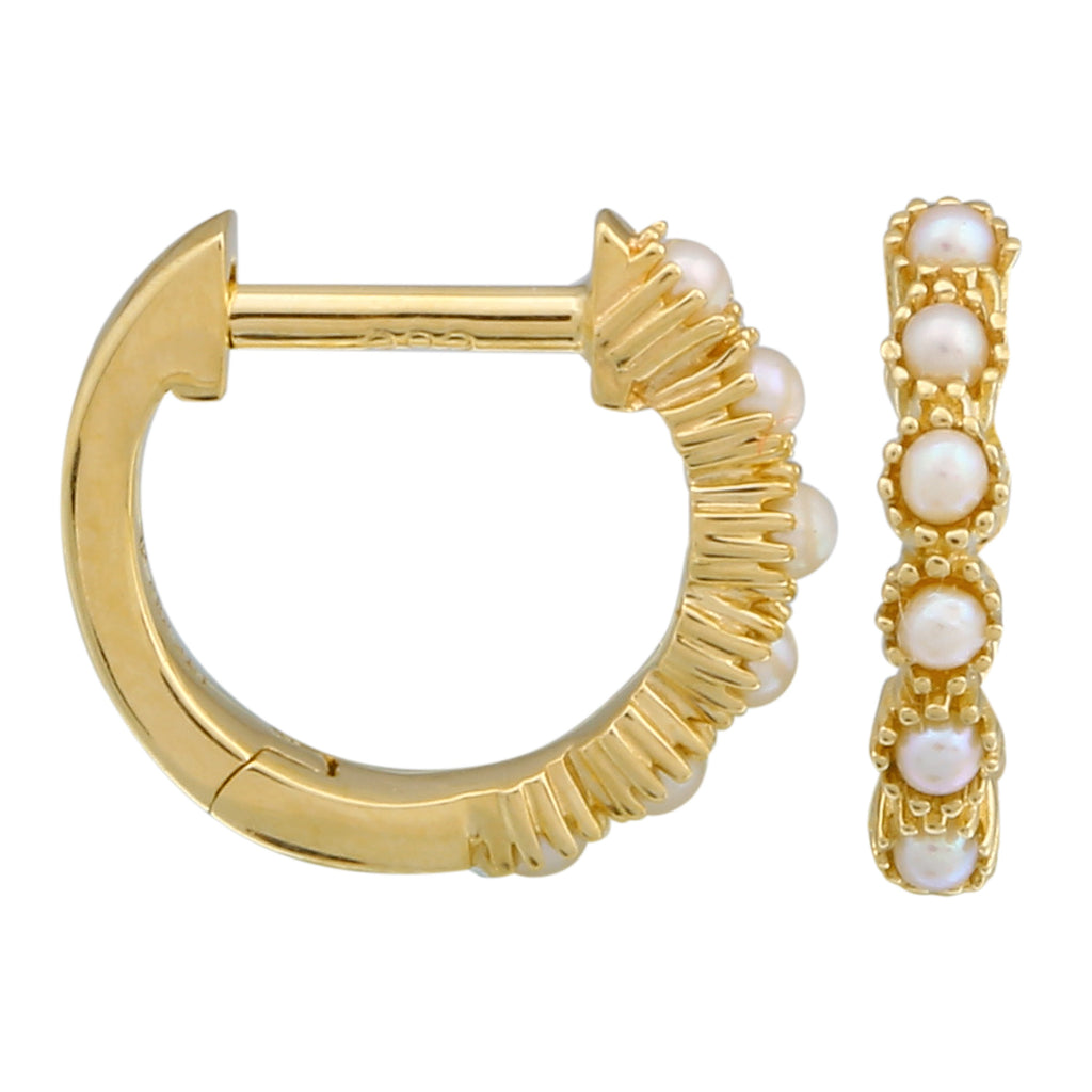14k Yellow Gold Pearl Beaded Huggie Hoop Earrings, 10mm Diameter