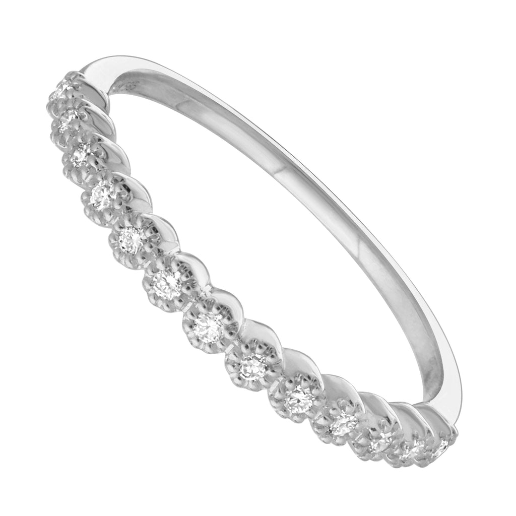 14k White Gold Diamond Pave Band Ring (1/10 cttw, H-I Color, I1-I2 Clarity)
