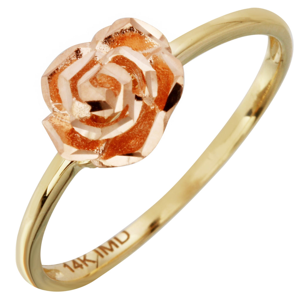 14K Two-Tone Gold Rose Flower Ring, Size 7