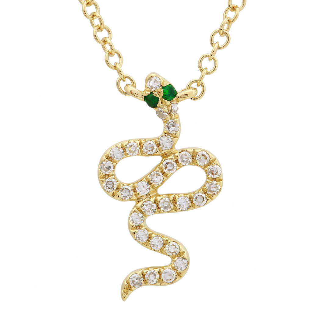 14k Yellow Gold Diamond Tsavorite Snake Pendant Necklace (0.08 cttw, H-I, I1-I2), 16+2""