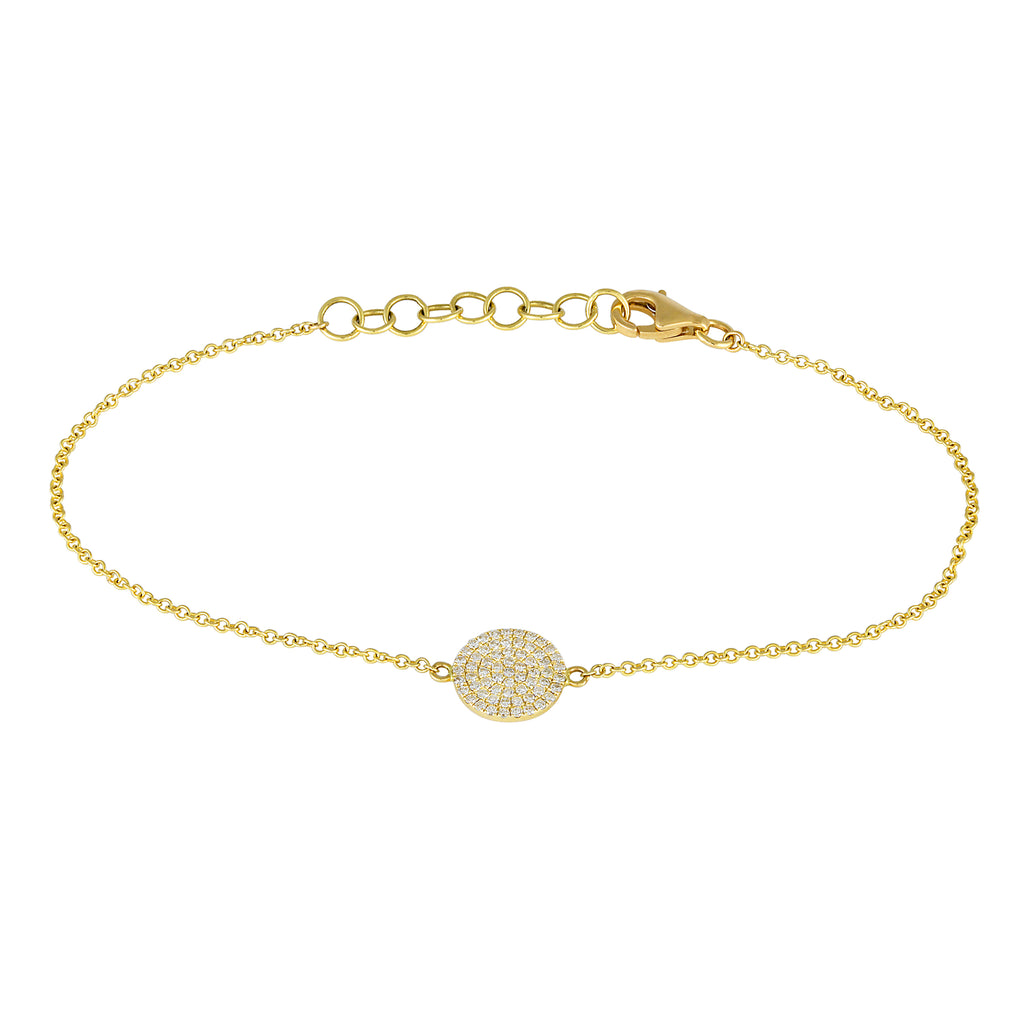 "Remark 14k Yellow Gold Diamond Pave Disc Charm Link Bracelet (1/5 cttw, H-I Color, I1-I2 Clarity), 6+1"" Extender"