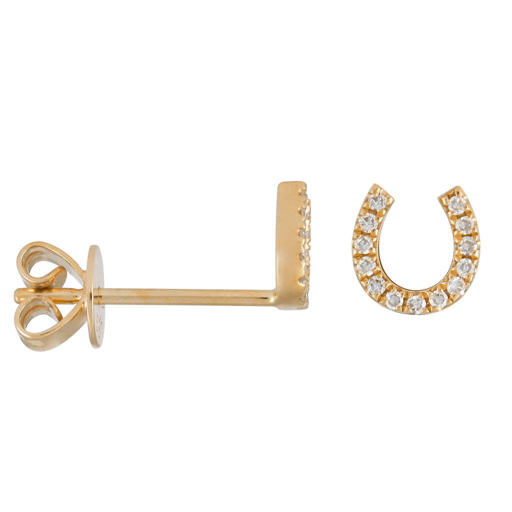 14k Yellow Gold Diamond Pave Lucky Horseshoe Stud Earrings (0.06 cttw, H-I, I1-I2)