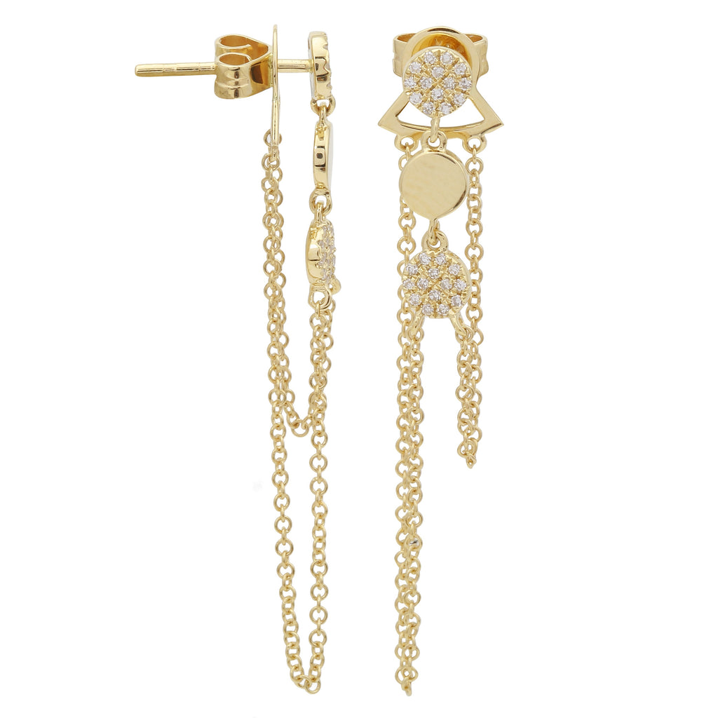 14k Yellow Gold Diamond Pave Dangle Link Chain Stud Earrings (1/10 cttw, H-I, I1-I2)