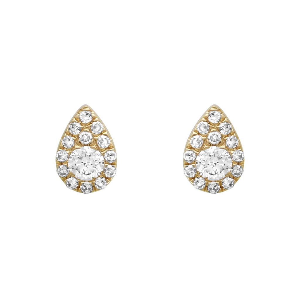 14k Yellow Gold Diamond Pear Drop Stud Earrings (1/5 cttw, H-I Color, I2-I3 Clarity)