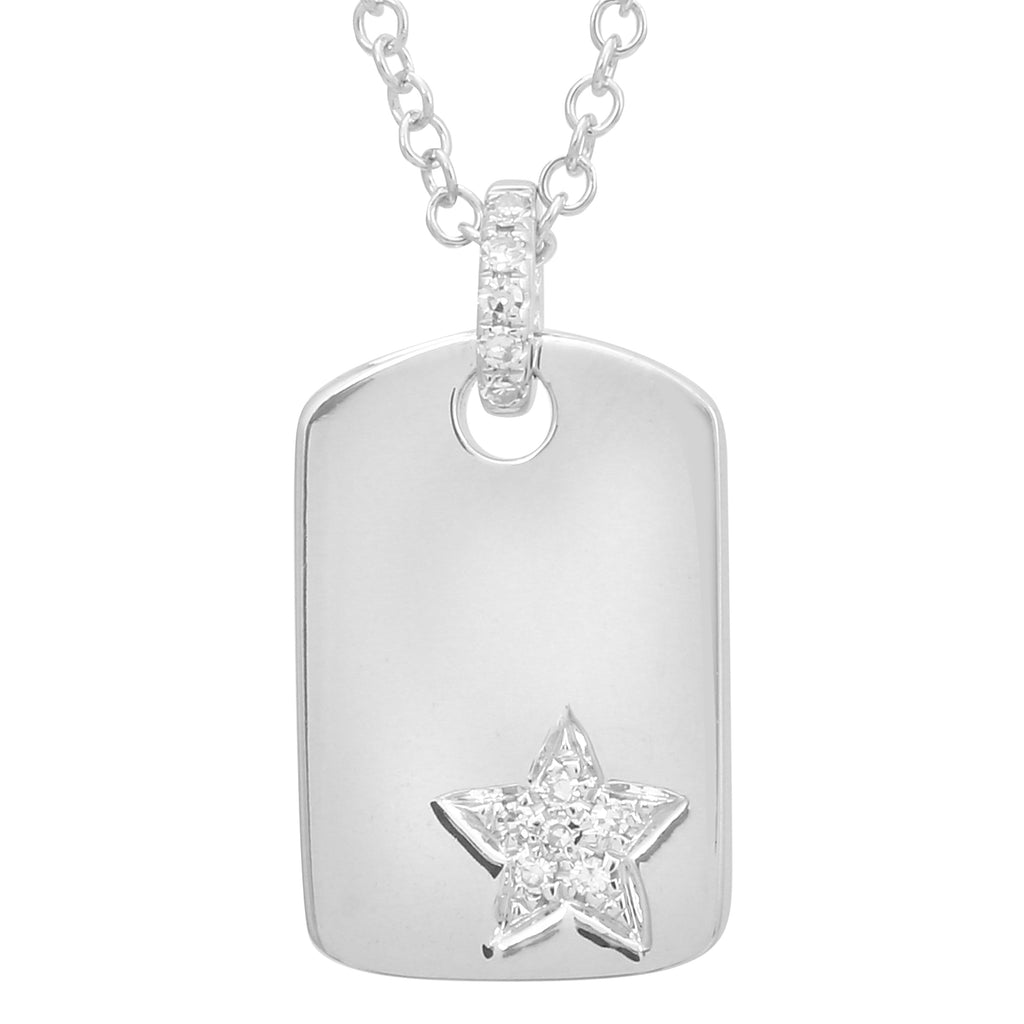 14k White Gold Diamond Star Tag Pendant Necklace