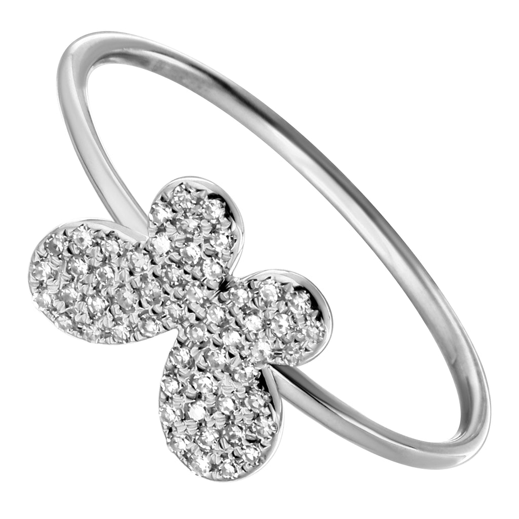 14k White Gold Diamond Pave Butterfly Ring (1/10 cttw)