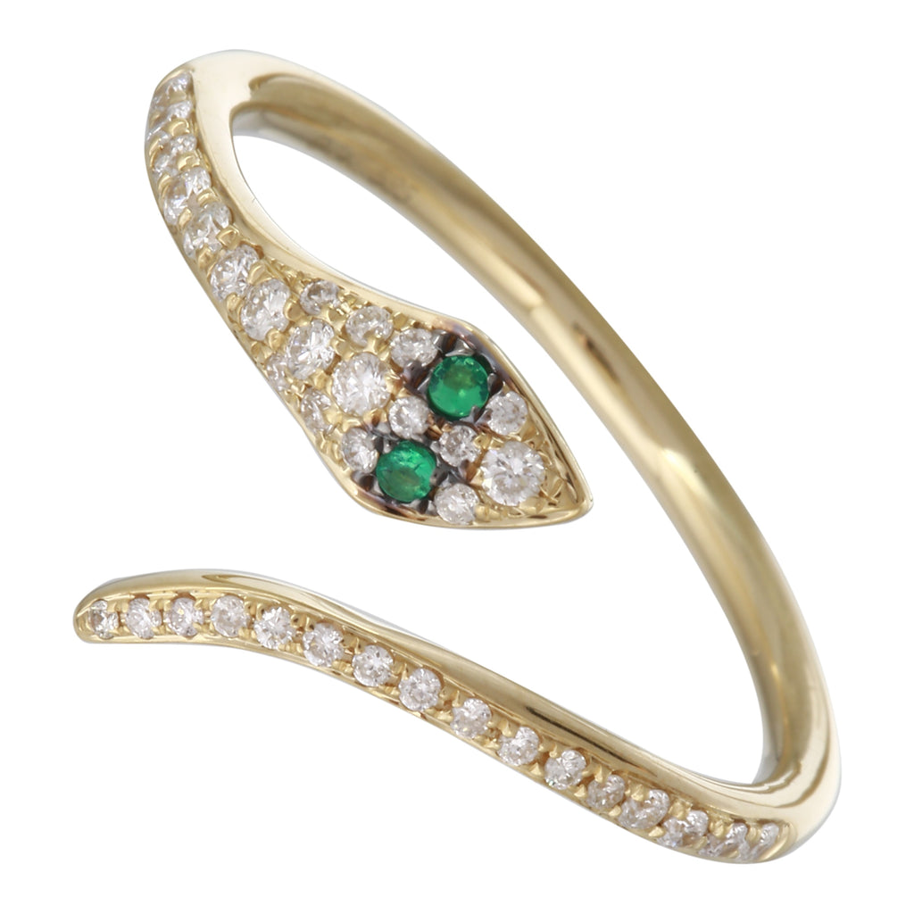 14k Yellow Gold Diamond Tsavorite Snake Open Ring (1/10 cttw, J-K Color, SI2-I1 Clarity)