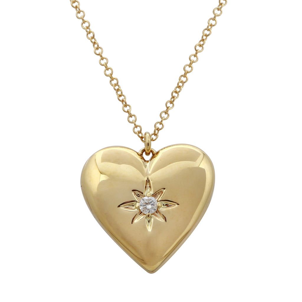 14k Yellow Gold Diamond Star Heart Locket Pendant Necklace (0.05 cttw, J-K Color, SI2-I1 Clarity), 16+2""