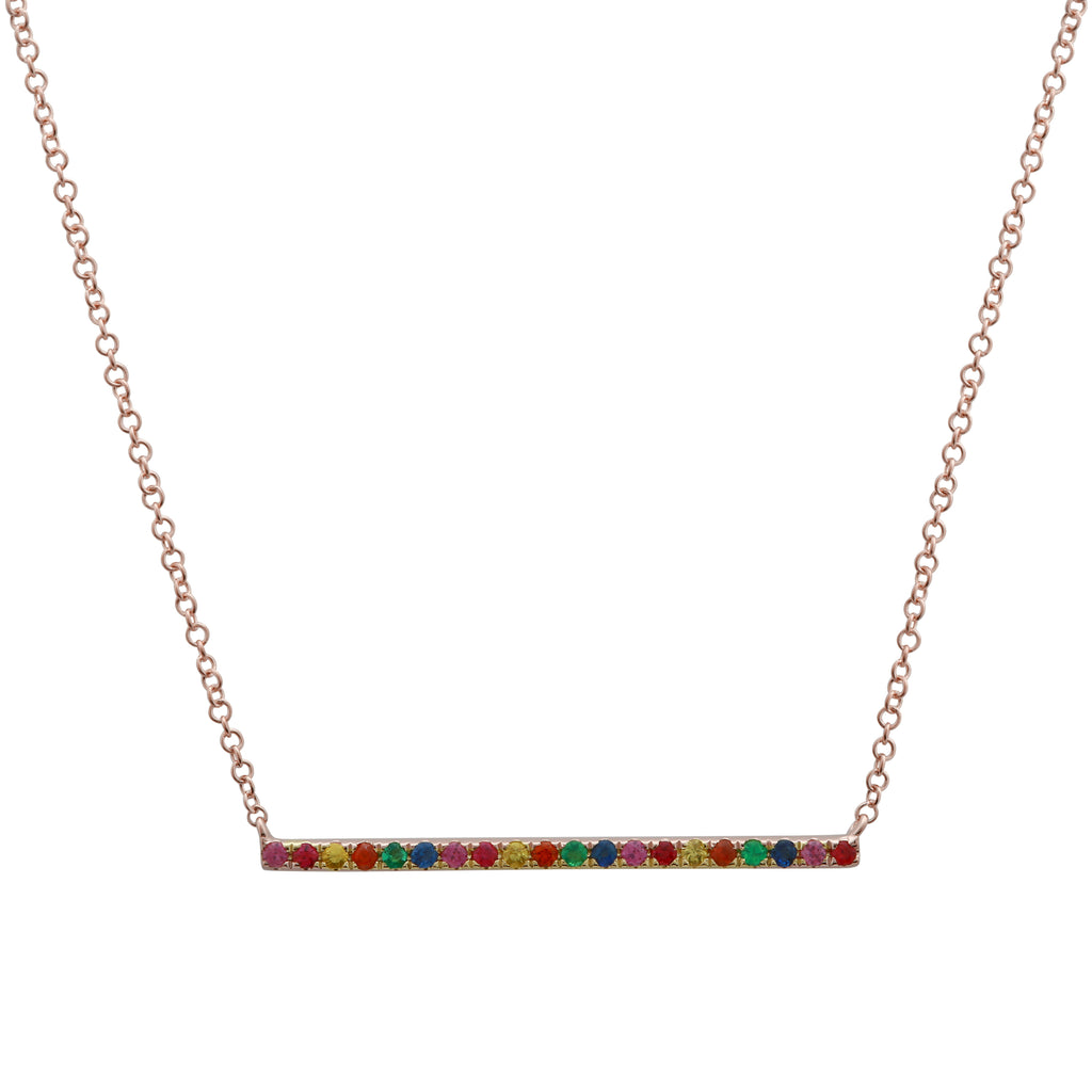 "14k Rose Gold Rainbow Sapphire Suspended Bar Pendant Necklace (1/5 cttw), 16+2"" Extender"