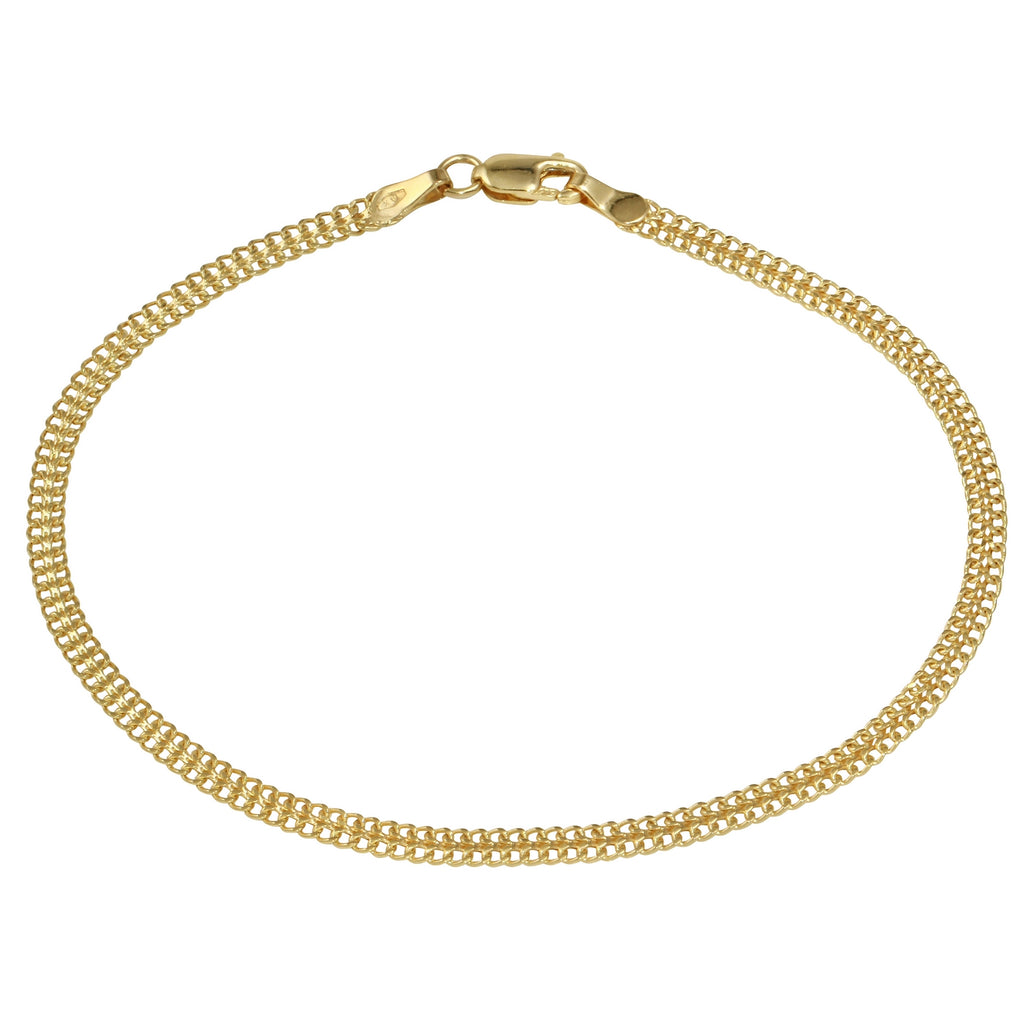 Women's 14k Yellow Gold Italian Stamp Link Bracelet, 7.5""