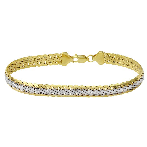 14k Two-Tone Gold Italian Fancy Stamp Bracelet, 7.5""