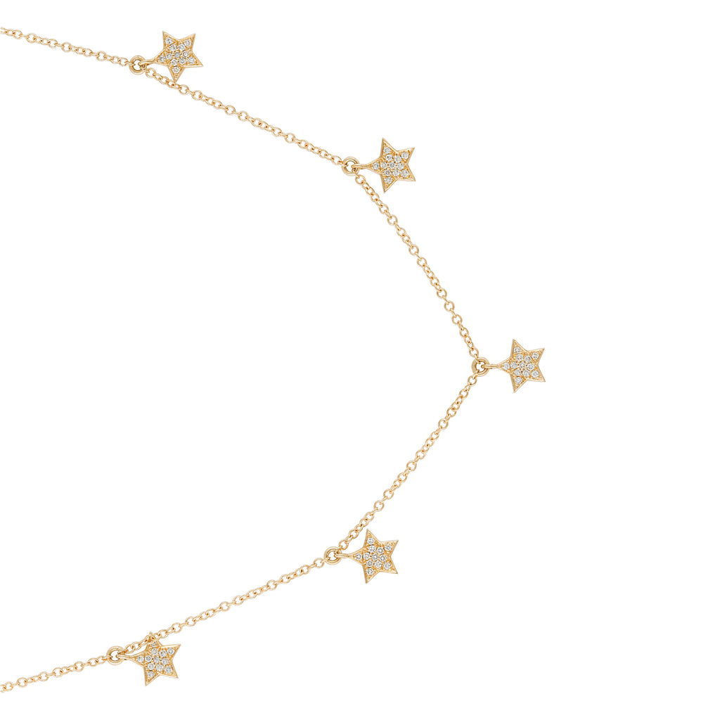 """Remark"" 14k Yellow Gold Diamond Star Charms Pendant Necklace (1/8 cttw, H-I Color, I2-I3 Clarity), 16+2"" Extender"