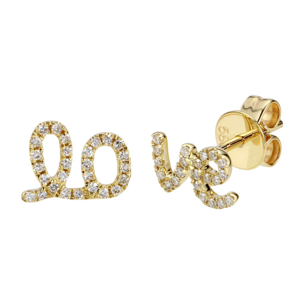 14k Yellow Gold Diamond Split Love Letter Stud Earrings (1/10 cttw, I-J Color, I2-I3 Clarity)