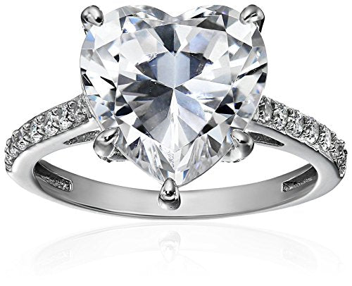 Platinum-Plated Sterling Silver Heart Zirconia Solitaire Ring
