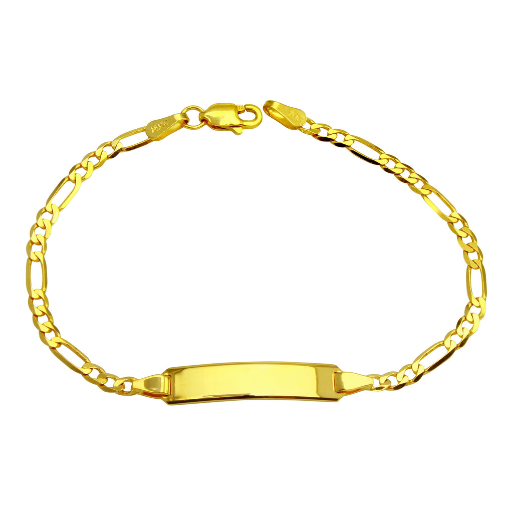 "14k Yellow Gold Baby Figaro Engraveable ID Bracelet, 6"" - Bee Jewels"