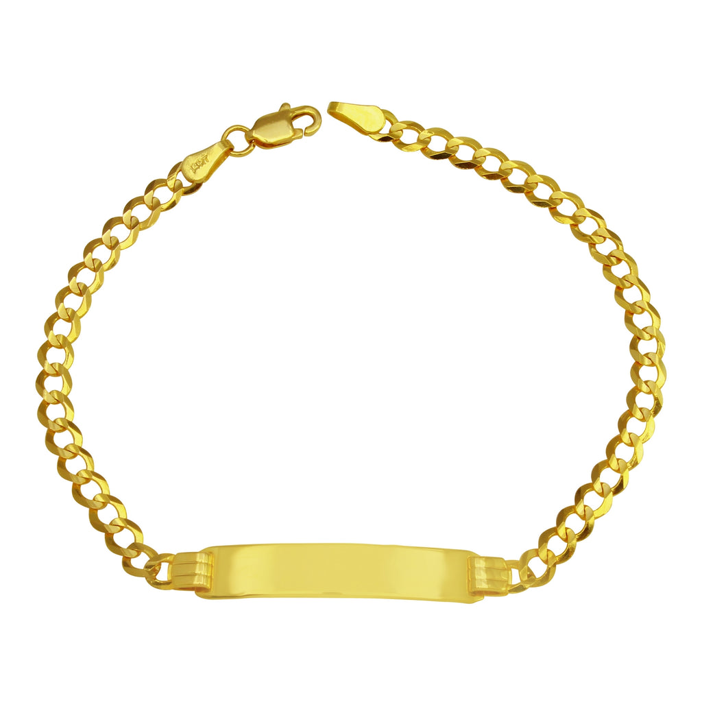 "14k Yellow Gold Baby Curb Link Engraveable ID Bracelet, 7"" - Bee Jewels"